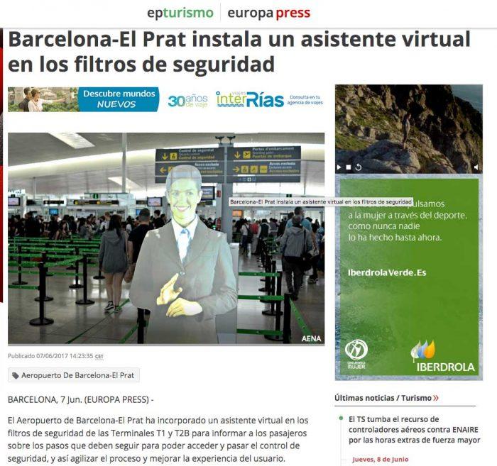 Asistente Virtual Filtros de seguridad Aeropuerto Barcelona el Prat Cubensis Project